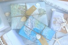 this could be a fun idea to wrap little treats for the kiddos when going on a long road trip....use maps of places along the way...and looking for the cities and states they are going through would be a great (and fun!) learning time