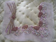 b Couture Embroidery, Beaded Embroidery, Embroidery Stitches, Embroidery Designs, Couture Details, Flower Making, Bridal Gowns, Swarovski Crystals, Sewing Projects