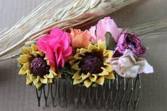 Peineta de Flores Girasoles Rosas Coral Fucsia Flores por ARTELIT