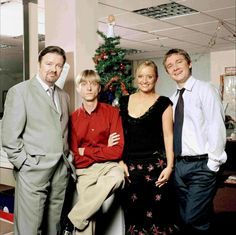 David, Gareth, Dawn, and Tim. Middle Management, Karl Pilkington, Office Uk, Office Christmas Party, Ricky Gervais, Olympic Sports, I Love To Laugh, Martin Freeman, David