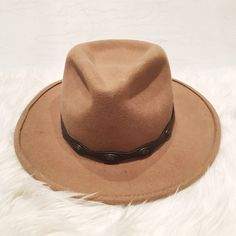 100% Wool Tan Hat Tan hat with brown belt and bronze buttons. One button missing (pictured). Brand new without tag (no tag was ever attached). Accessories Hats