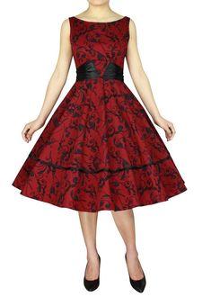 12fab842d48e Red Print Sleeveless w  Sash Classic Retro Vintage Swing Dress Small 4 6 sm