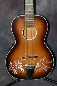 """Today, Lawman Guitars is Presenting. A really cool, Only Year made in this configuration, Old Kraftsman, """"Prairie Ramblers"""" Model Cowboy Whistler's Mother, Guitar Books, Bunkhouse, Vintage Guitars, Cool Guitar, Orchestra, Stencil, Instruments, The Originals"""