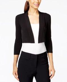 Calvin Klein Three-Quarter-Sleeve Bolero Cardigan - Black PXL
