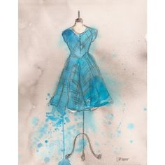 Original - Watercolor and Charcoal Painting - Teal Striped Dress -... ($190) ❤ liked on Polyvore