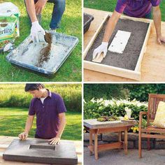 Hypertufa Table - 28 Cutest Outdoor Concrete Projects For Your Home