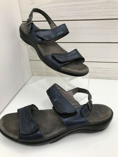 46ac4af80474e5 SAS Size 8 N Narrow Sandals Shoes Ankle and Toe Strap Blue with Sheen