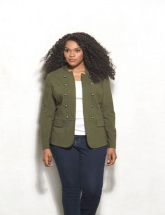Take your casual look to the next level with this oh-so-chic military-inspire jacket! Simply pair with your darkest wash denim and a neutral top, for an effortlessly stylish outfit your and your friends will love. Imported.