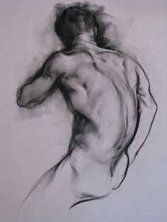 Cefx male posterior back charcoal drawing