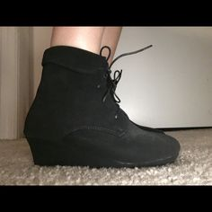 QQ girls youth three black suede wedge boots QQ Girls suede lace up wedges. Super cute and comfy! QQ girl  Shoes Wedges