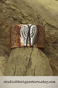 Angel wing ring Thumb ring Copper ring Adjustable ring Boho ring Statement ring Cuff ring Guardian Angel jewelry Wide rustic Gift for her Copper Cuff, Hammered Copper, Copper Jewelry, Bohemian Rings, Bohemian Jewelry, Fall Fashion, Boho Fashion, Angel Wing Ring, Angel Wings Jewelry