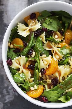 "A little bit of springtime flavor and color! // ""Mandarin Pasta Spinach Salad with Teriyaki Dressing""