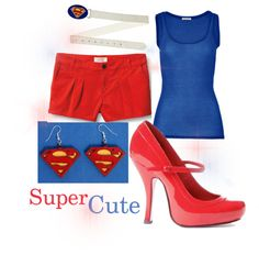"Love Supergirl and Superman? Make every day super with this cute superhero-themed outfit.  Shoes available from our store at CostumeLicious. ""Supergirl Themed Outfit"" by costumelicious on Polyvore    #Superman #Supergirl"