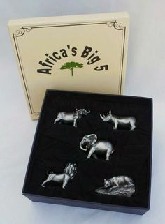 Africa's favourite animals are now available in pewter ! Slightly stylised, the Big 5 pewter animals have been carefully designed with a satin finish, and are ideal as gifts. PEWTER ANIMAL RANGE OF 15 DESIGNS Select from our range of 15 different slightly larger size pewter animals, including the Big 5, these animals are an average of 6cm in height and 9cm in length  BUY @ www.auldco.co.za 5 Box, Advertising, Ads, Big 5, Satin Finish, Pewter, Larger, African, Gift Ideas
