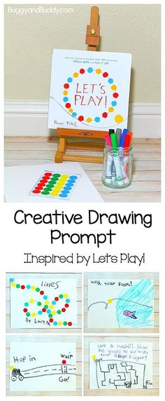 Art for Kids: Invitation to Create inspired by Herve Tullet's children's book, Let's Play! Simple drawing prompt for preschool and on up- great way to encourage bookmaking and creative confidence! ~ BuggyandBuddy.com