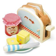 Wooden Toy Toaster Set