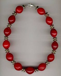 African Trabe Bead Designs | Necklace; vintage Czech glass ovals, silver bicone disc spacers | £90 ~ Sold