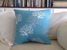 Aqua Blue Coral Throw Pillow  Sea Fan Pillow by ByTheSeashoreDecor, $39.00