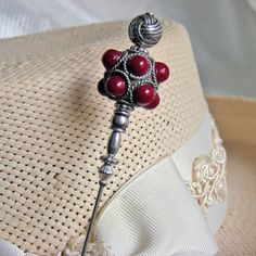 Rare Tibetan Pewter Hatpin with Red Round Beads