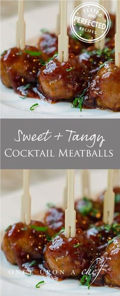 Throw away those old kitschy cocktail meatball recipes that call for grape jelly and frozen meatballs these are easy-to-make and so much better. You'll love that the meatballs are baked, not fried, and the sweet and tangy sauce is ready in under 15 minu Meatball Recipes, Beef Recipes, Cooking Recipes, Meatball Sauce, Recipies, Appetizer Dips, Appetizer Recipes, Meat Appetizers, Appetizer Party
