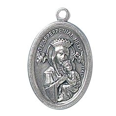 Blessed By Pope Francis Perpetual Help St Gerard Italian Oxidized Medal. Double Medal - size - about 3/4 of an inch. Blessed by Pope Francis. Silver Oxidized Saints Medals come on a convenient jump ring, ready for a stainless steel chain. -- Silvertone. Made in Italy, this medal will never rust - includes an organza bag -. a courtesy card with the Papal Blessing is enclosed - we do NOT sell the blessing.