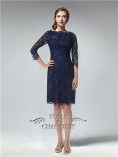 Long Sleeves Knee length Fitted Full Navy Blue Lace Bridesmaid Dress #custom #tullechantilly