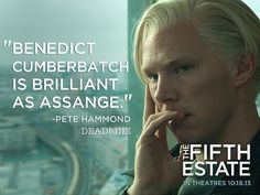 """Pete Hammond at Deadline Hollywood writes, """"Benedict Cumberbatch is brilliant as Assange."""" Watch his amazing portrayal in the Fifth Estate on The Fifth Estate, Parade's End, Una Stubbs, Louise Brealey, Sherlock Cast, Rupert Graves, English Gentleman, 12 Years A Slave, Mark Gatiss"""
