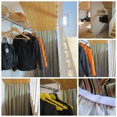 Tee-se-itse-naisen sisustusblogi: Storage Space Under Stairs Hidden With Striped Curtain