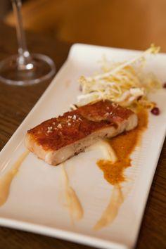 Crispy confit of Segovian suckling pig, apple puree & frisee salad |Ibérica Restaurants Menu|