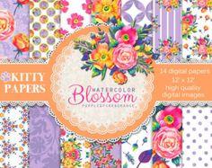 Chalkboard digital paper : Floral Chalkboard pink by kittypapers