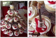 Electric guitar cupcake toppers ordered on Etsy.