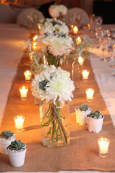 White flowers, succulents, natural accents & lots of candles Party Planning, Wedding Planning, Wedding Reception, Our Wedding, Succulent Centerpieces, Wedding Inspiration, Wedding Ideas, White Flowers, Earthy