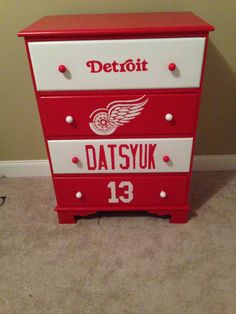 Detroit Red wings dresser for Boys room Hockey bedroom