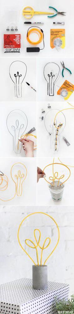 MY DIY | Neon Lightbulb Lamp | Si no hay neón, también me gustaria con alambre común de colores