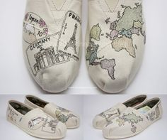 Custom Painted TOMS Shoes Passport Travel and by ibleedheART