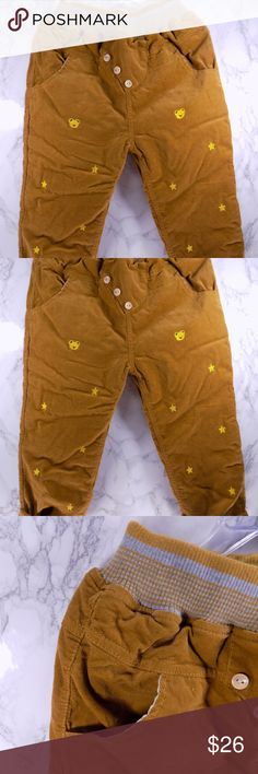 Puffy Stars & Teddy Bears Pants. Kids :) Adorable and very warm and trendy sweatpants in yellow Mustard color. Stars and Teddy bears are in gold. Pants are very thick and warm  This item is brand new and never used.  331 - 5T Bottoms Sweatpants & Joggers