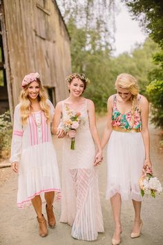 realize this is for a wedding, but i love the flower top with tulle skirt and gold ribbon for a summer day.
