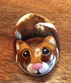 Hamster hand painted on rock stone pebble no hamster cage food or water bottle | eBay