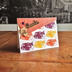 """Foxy Thank You Card. Cardstock: PaperProducts; DP: Papermania; stamps: Hero Arts (""""Sleeping Fox""""), We R Memory Keepers (""""Hello"""" stamps & die set); ink: SU; wood veneers: CraftEmotions; cork: DCWV; enamel dots and linen thread from my stash."""