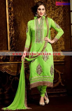 SCINTILLATING LIME GREEN COLOR CHANDERI COTTON SILK FABRIC DESIGNER STRAIGHT SUITS
