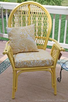 Updated balloon back rattan chair, painted Summer Squash Yellow