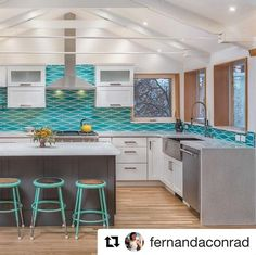 White cabinetry works well as a neutral backdrop for bright and bold colors like the aqua blue used throughout this kitchen design by Fernanda Conrad - K&W Interiors. Find more on Instagram at @fernandaconrad. #Repost Dura Supreme Cabinetry design by Fernanda Conrad - K&W Interiors.