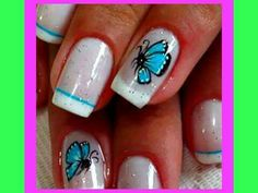 Mariposa Nail Art, Nails, Beauty, White French Tip, French Nails, Fingernail Designs, Blue Nails, Make Up, Ongles