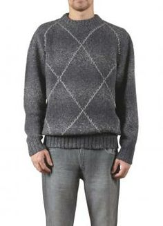 Kalvados Sweater - Classic crewneck sweater with diamond stitch design over graduated color weave. Soft and warm in a rich design great for day or evening. (Composition: 80% Baby Alpaca 20% Sheep Wool)