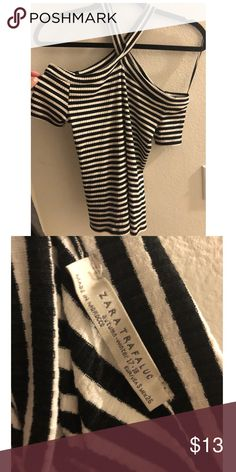 Zara Striped Too - shoulder cut outs Zara Striped Too - shoulder cut outs - Size Small - Brand new / Never worn Zara Tops Tees - Short Sleeve