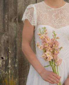 Romantic Bohemian Wedding Dress with Illusion by WearYourLoveXO