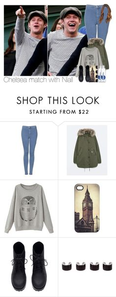 """""""Chelsea match with Niall"""" by hpforever00 ❤ liked on Polyvore featuring Topshop, Zara, Venom, H&M, Maison Margiela, NiallHoran, OTRATour and TalisLittleTag"""