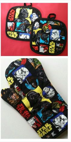Star Wars Oven Mitt and pot holder gift set by HauteMessThreads. Totally geeky, totally love it.