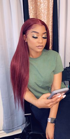 Rose Hair Burgundy Pre-plucked Human Virgin Hair Lace Frontal Wig Density The Same As The Hairstyle In The Picture hair style – Hair Models-Hair Styles Wig Hairstyles, Straight Hairstyles, Updo Hairstyle, Wedding Hairstyles, Birthday Hairstyles, Formal Hairstyles, Black Hairstyles, Hairstyle Ideas, Sew In Weave Hairstyles
