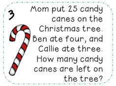 Free} Christmas Math Word Problems Perfect For December Math – Ideas For Kindergarten Math Story Problems, Word Problems, Second Grade Math, Grade 2, Math Words, Math Stations, Math Centers, Math Journals, Teaching Math